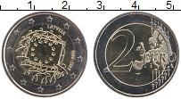 Изображение Монеты Латвия 2 евро 2015 Биметалл UNC 30 лет флагу Евросою