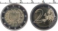 Изображение Монеты Литва 2 евро 2015 Биметалл UNC 30 лет флагу Евросою