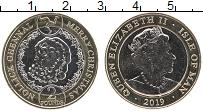 Изображение Монеты Остров Мэн 2 фунта 2019 Биметалл UNC Елизавета II. Рождес