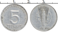 Изображение Монеты ГДР 5 пфеннигов 1950 Алюминий XF A