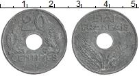 Изображение Монеты Франция 20 сантим 1943 Цинк XF Немецкая оккупация