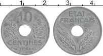 Изображение Монеты Франция 10 сантим 1941 Цинк XF Немецкая оккупация