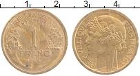 Изображение Монеты Французская Западная Африка 1 франк 1944 Латунь XF