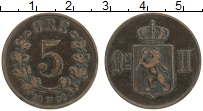 Изображение Монеты Норвегия 5 эре 1902 Бронза XF Оскар II
