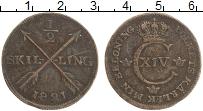 Изображение Монеты Швеция 1/2 скиллинга 1821 Медь XF Карл XIV