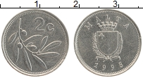 Изображение Монеты Мальта 2 цента 1998 Медно-никель UNC-
