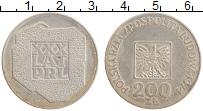 Изображение Монеты Польша 200 злотых 1974 Серебро UNC- 30 лет ПНР