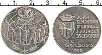 Изображение Монеты Андорра 25 сентим 1995 Медно-никель UNC- 50 лет ФАО