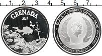 Изображение Монеты Карибы 2 доллара 2018 Серебро UNC Гренада. Аквалангист