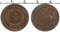 Изображение Монеты США 2 цента 1868 Медь XF-
