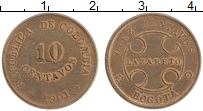 Изображение Монеты Колумбия 10 сентаво 1901 Латунь XF Лепразорий. Багота