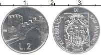 Изображение Монеты Сан-Марино 2 лиры 1988 Алюминий UNC- Арка