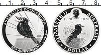 Изображение Монеты Австралия 1 доллар 2020 Серебро Proof 30 лет чеканки кукаб