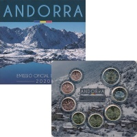 Изображение Подарочные монеты Андорра Евронабор 2020 года 2020  UNC В набор входят восем
