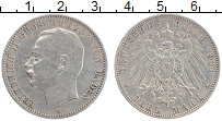 Изображение Монеты Баден 3 марки 1911 Серебро XF G Фридрих II