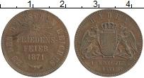 Продать Монеты Баден 1 крейцер 1871 Медь