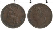 Изображение Монеты Великобритания 1/3 фартинга 1827 Медь XF Георг IV