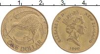 Изображение Монеты Новая Зеландия 1 доллар 1990 Латунь XF Елизавета II