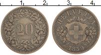 Изображение Монеты Швейцария 20 рапп 1859 Серебро XF-