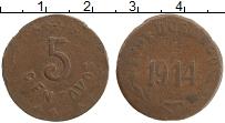 Изображение Монеты Мексика 5 сентаво 1914 Медь XF Штат Дуранго
