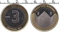 Продать Монеты Словения 3 евро 2011 Биметалл