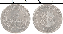 Изображение Монеты Шлезвиг-Гольштейн 5 марок 1923 Алюминий XF Герб