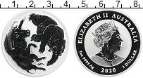 Изображение Монеты Австралия 1 доллар 2020 Серебро Proof Елизавета II. Буйвол