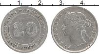 Изображение Монеты Стрейтс-Сеттльмент 20 центов 1895 Серебро VF Виктория