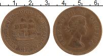 Изображение Монеты ЮАР 1 пенни 1960 Бронза XF Елизавета II. Парусн