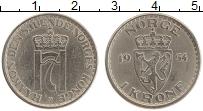 Изображение Монеты Норвегия 1 крона 1954 Медно-никель XF Хокон VII