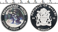 Изображение Монеты Малави 10 квач 2010 Посеребрение Proof- Ядовитые лягушки