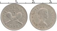 Изображение Монеты Новая Зеландия 3 пенса 1959 Медно-никель XF Елизавета II.