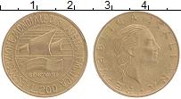 Изображение Монеты Италия 200 лир 1992 Латунь XF Международная филате