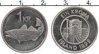 Изображение Монеты Исландия 1 крона 1999 Медно-никель UNC-