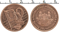 Изображение Монеты Ватикан 2 евроцента 2011 Медь UNC Проба. UNUSUAL