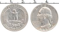 Изображение Монеты США 1/4 доллара 1958 Серебро XF D