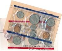 Изображение Подарочные монеты США Набор 1988 года 1988  UNC Десять монет регуляр