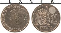 Изображение Монеты Испания 500 песет 2001 Латунь UNC Хуан Карлос I и Софи