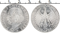 Изображение Монеты ФРГ 5 марок 1969 Серебро UNC Теодор Фонтан, G