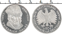 Изображение Монеты ФРГ 5 марок 1977 Серебро UNC Карл Фридрих Гаусс,