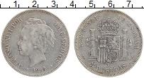Изображение Монеты Испания 5 песет 1894 Серебро XF Альфонсо XIII