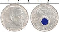 Изображение Монеты Третий Рейх 5 марок 1936 Серебро UNC- D. Пауль фон Гинденб
