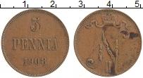 Изображение Монеты Финляндия 5 пенни 1908 Медь XF