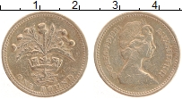 Изображение Монеты Великобритания 1 фунт 1984 Латунь VF Елизавета II. Куст ч