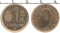 Изображение Монеты Испания 1 песета 1980 Бронза UNC- Хуан Карлос I. Чемпи