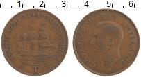 Изображение Монеты ЮАР 1 пенни 1941 Бронза XF Георг VI.