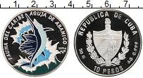 Изображение Монеты Куба 10 песо 1994 Серебро Proof- Рыба пила