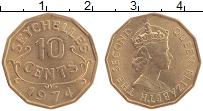 Изображение Монеты Сейшелы 10 центов 1974 Латунь UNC- Елизавета II