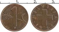 Изображение Монеты Швейцария 1 рапп 1955 Бронза XF