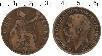 Изображение Монеты Великобритания 1 пенни 1912 Бронза XF- Георг V (м.д.Хитон)